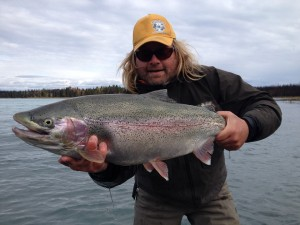 Trophy Rainbow trout on Kenai River Alaska